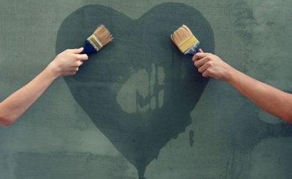 cuore disegnato sul muro