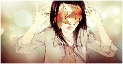 foglie sugli occhi