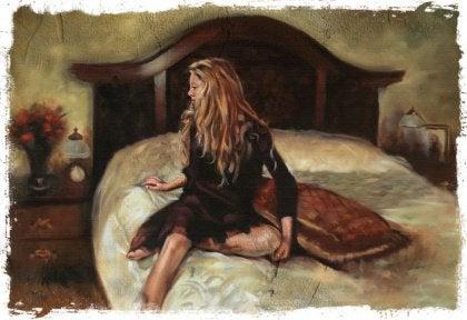 ragazza bionda sul letto