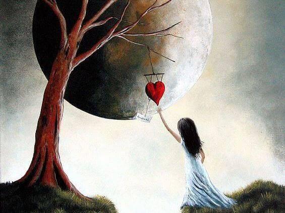 ragazza cuore e luna