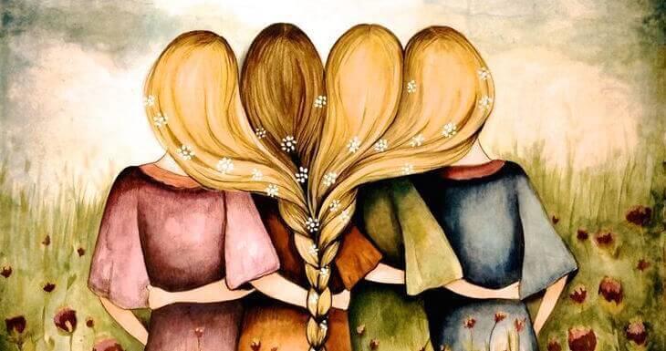 quattro ragazze si abbracciano