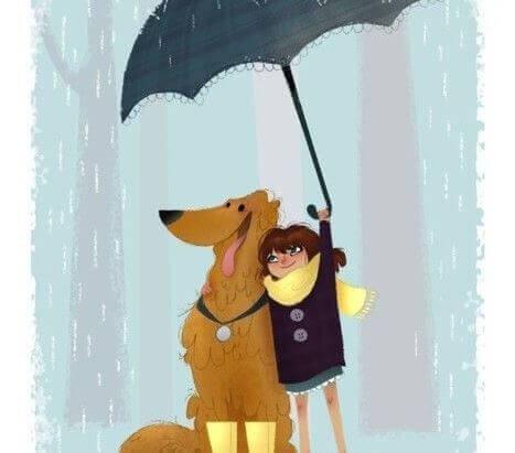cane e bimbo sotto l'ombrello