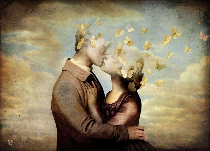 coppia che si bacia con testa a forma di farfalla