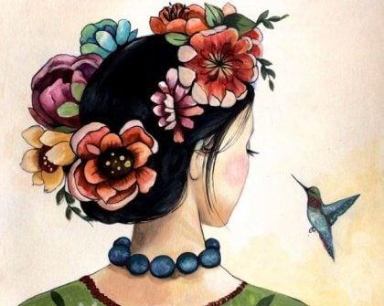disegno di una ragazza e un colibrì