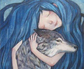 ragazza capelli blu e lupo