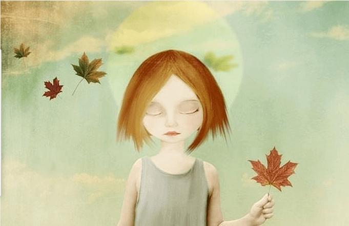 Bambina triste con foglia secca in mano