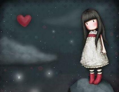 bambina triste con cuore