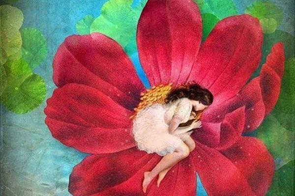 donna dentro un fiore