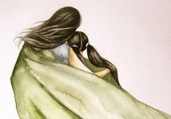 madre e figlia sotto un mantello