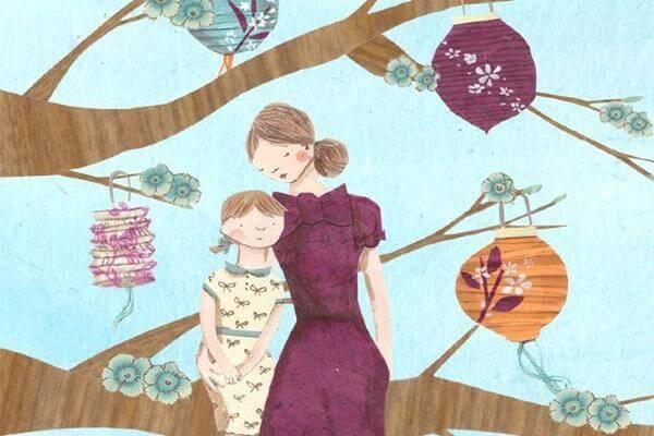 madre e figlio su un albero