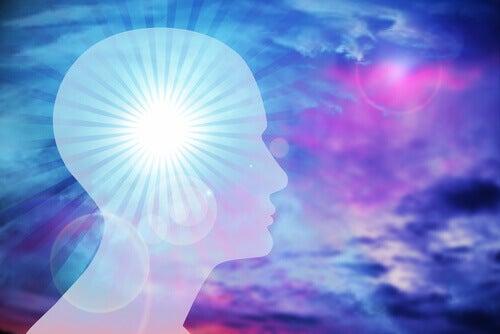 Profilo uomo cervello illuminato