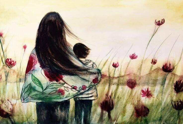 abbraccio di una madre al figlio