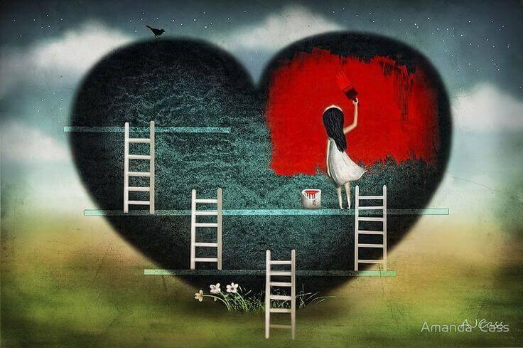 bambina che dipinge di rosso un cuore nero