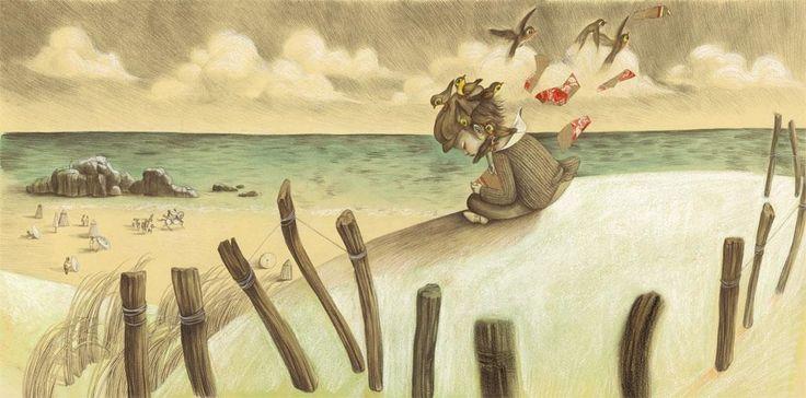bambino in spiaggia circondato da uccelli