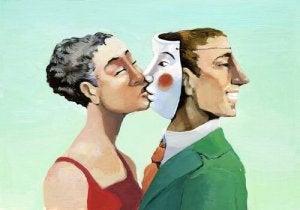 donna bacia uomo con doppia faccia