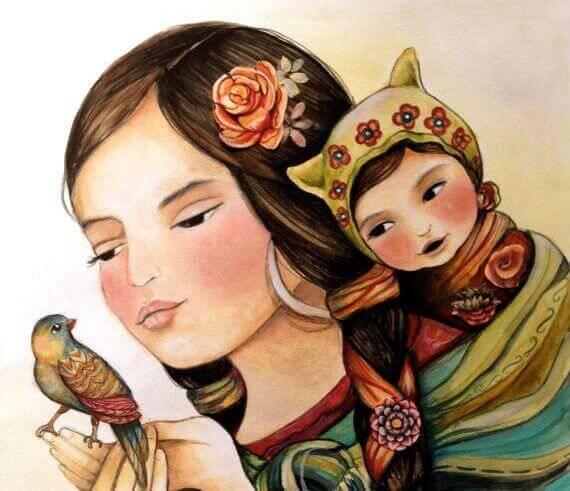 donna, bambino e passero