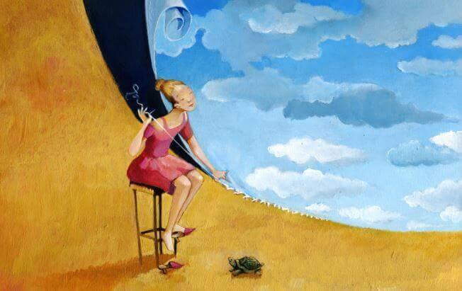 donna che cuce il cielo e la terra