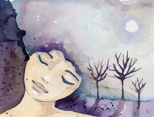 donna che dorme con la luna