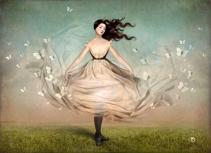donna che fluttua con farfalle