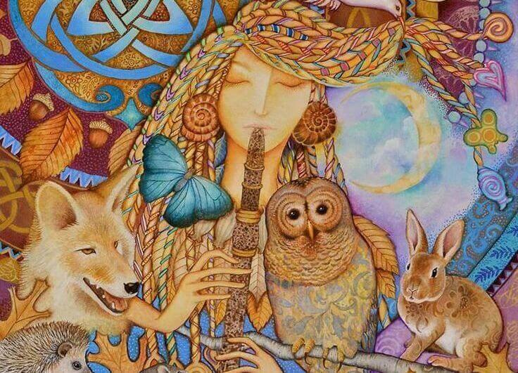 donna circondata da animali