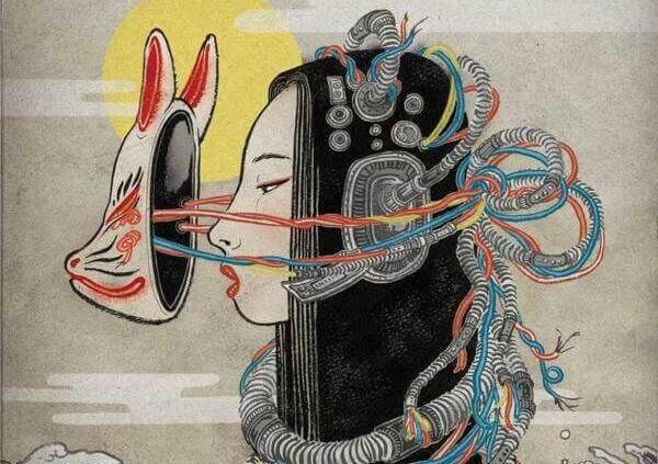 donna con maschera e circuiti