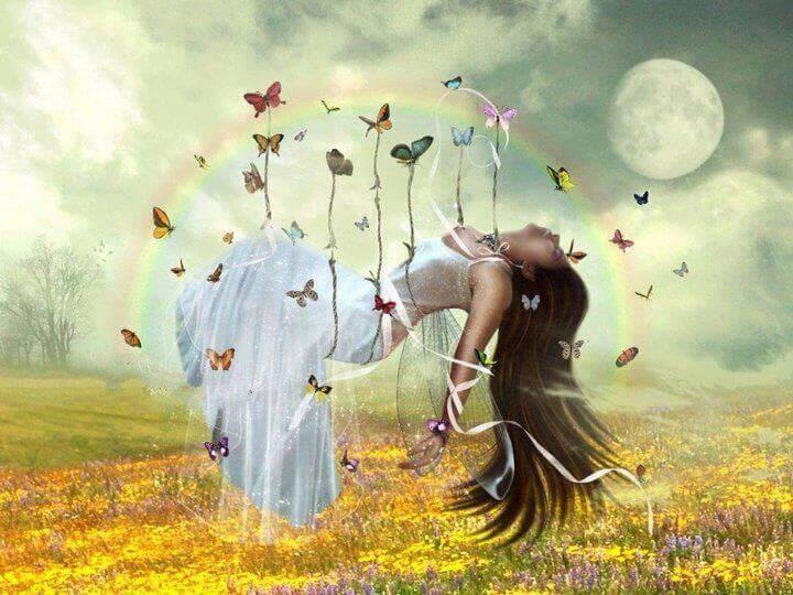 donna prato e farfalle