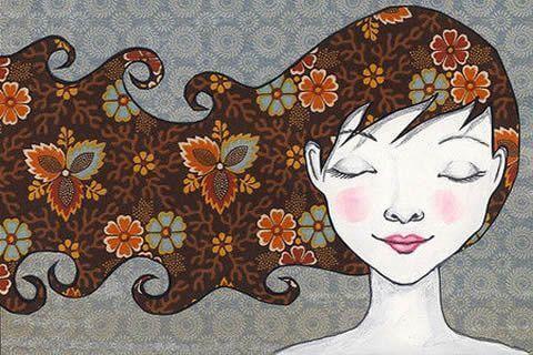 ragazza capelli di fiori