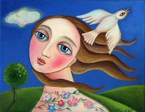 ragazza e colomba