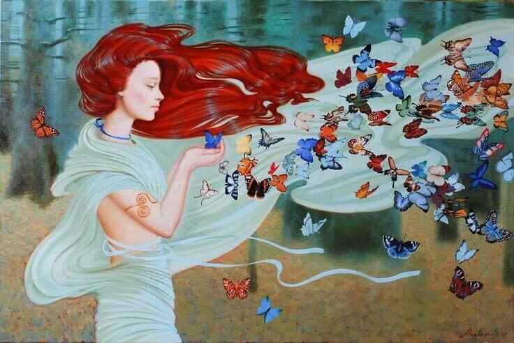 ragazza, vento e farfalle