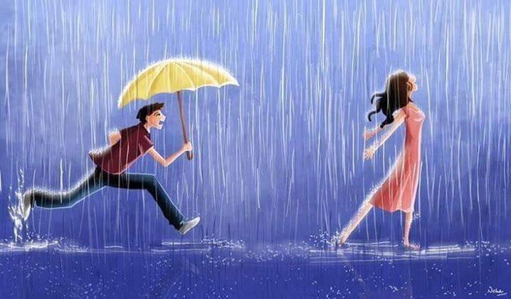 ragazzo con ombrello verso una ragazza
