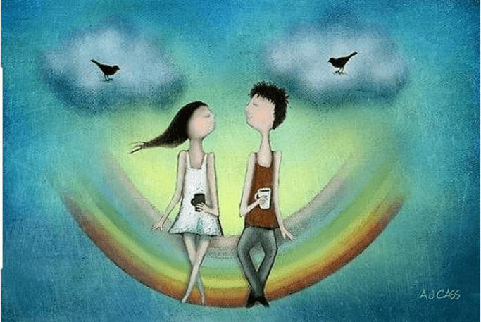 ragazzo e ragazza sull'arcobaleno