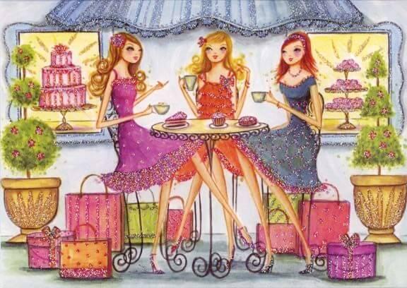 tre ragazze prendono un tè