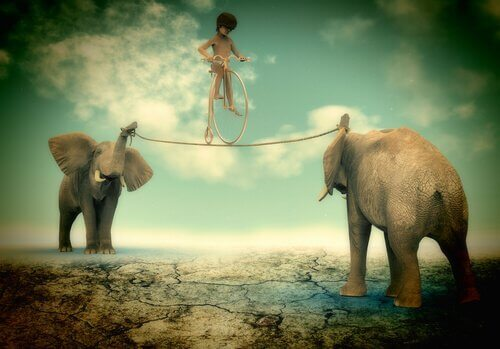 Bambino in equilibrio sulla corda