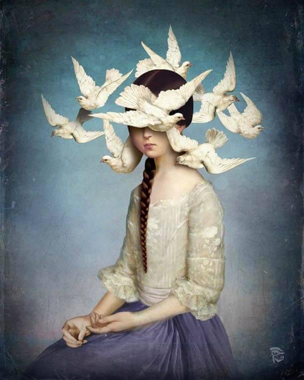 Donna con uccelli intorno alla testa