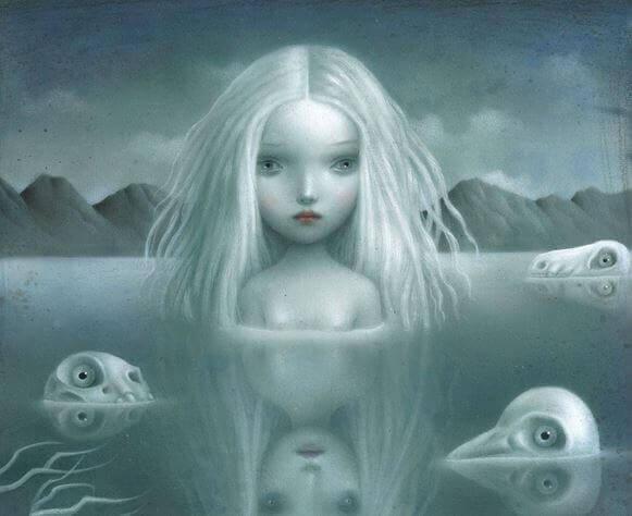 Donna triste in un lago