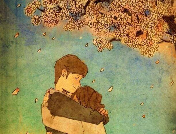 abbraccio sotto un albero