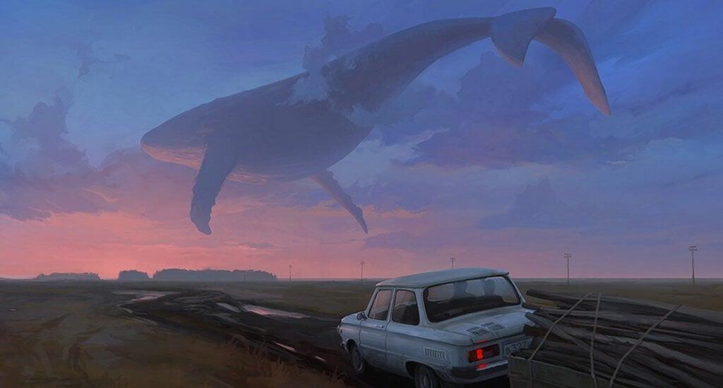 balena che vola nel cielo