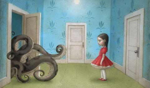 bambina in una stanza e polipo