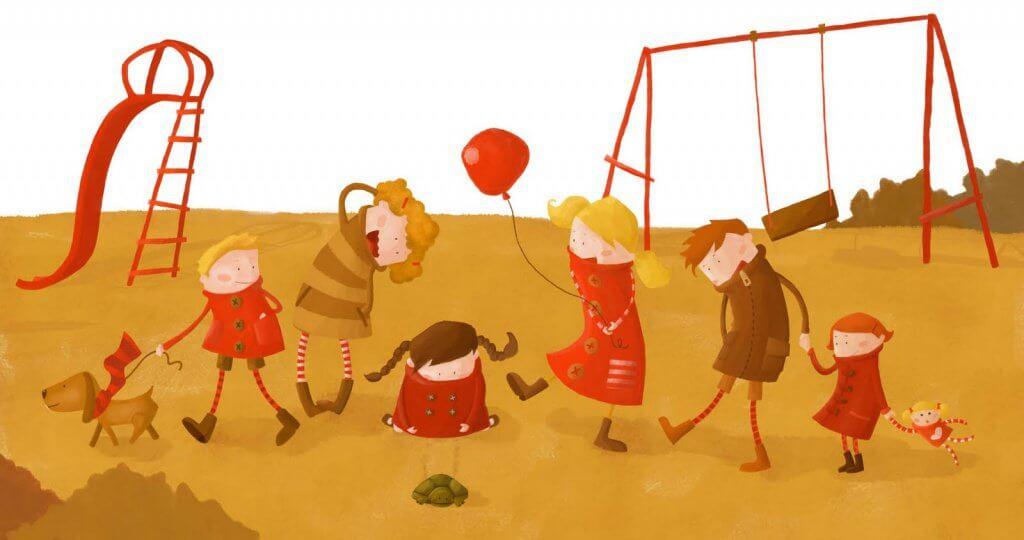bambini giocano al parco giochi