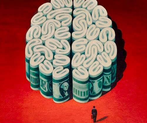 cervello fatto di soldi