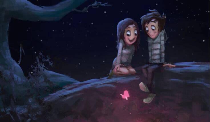 coppia con cuore illuminato