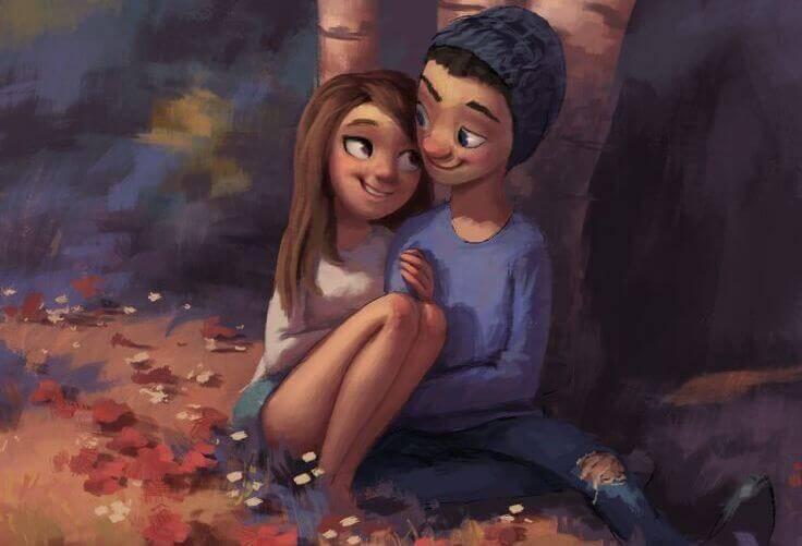 coppia felice che si guarda negli occhi