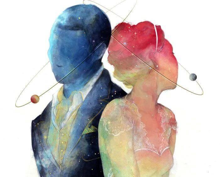 coppia in rosa e blu