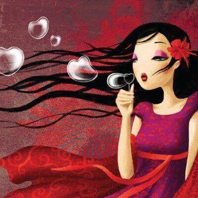 donna bolle a forma di cuore