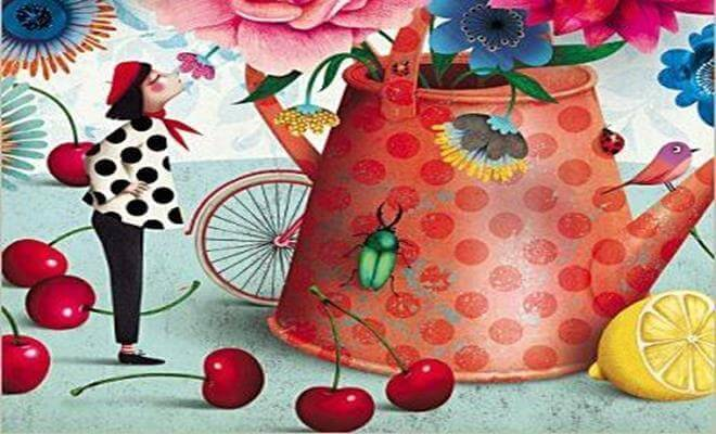 donna con teriera colorata