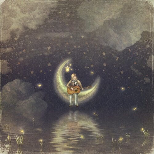 donna suona chitarra sulla luna