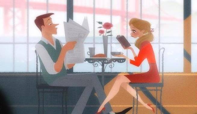 fidanzati leggono al tavolo
