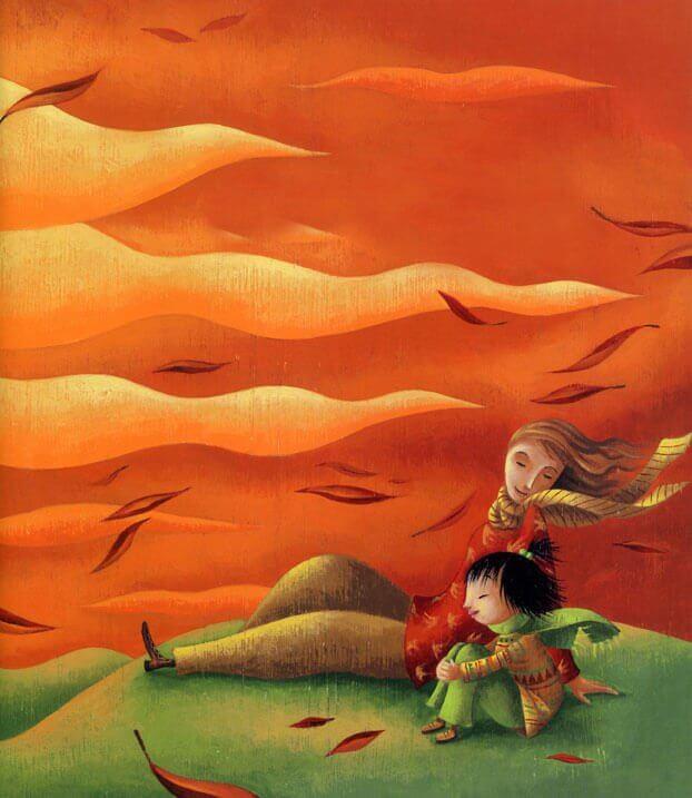 madre e figlia su una collina
