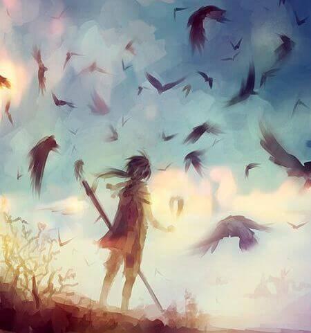 ragazza e corvi