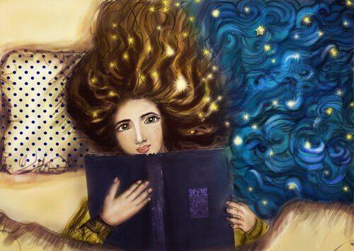 ragazza legge a letto